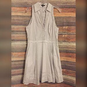 Express gray white striped sleeveless dress NWOT